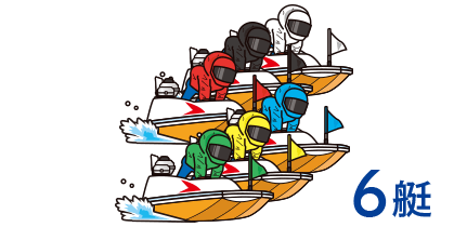 画像:ボートには番号(艇番)と色